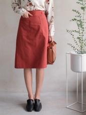 純色復古口袋設計高含棉A字裙