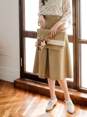 後鬆緊雙口袋高含棉A字裙