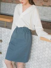 高含棉羅紋收口腰圍A字及膝裙