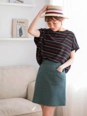 棉麻素面A字包臀窄管裙