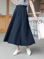 高含棉織紋素面寬鬆中長裙