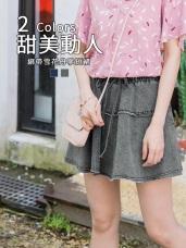 高含棉腰圍蝴蝶結彈性雪花短褲裙