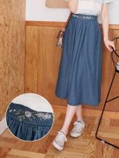 腰頭花朵刺繡高含棉中長牛仔圓裙