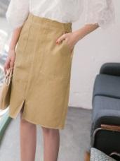 車縫配色雙口袋前開衩高含棉A字裙