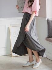 法式垂墜感側腰蝴蝶結綁帶不規則開衩長裙
