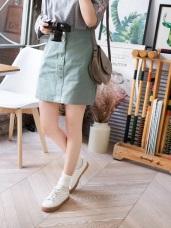 高含棉柔色調A字筆直短裙