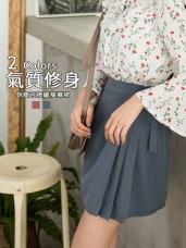 柔色調打褶側綁帶不易皺涼爽雪紡裙