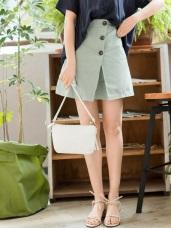 木紋排釦打褶下襬高含棉A字短裙