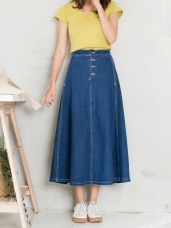 高含棉排釦高腰中長丹寧牛仔裙