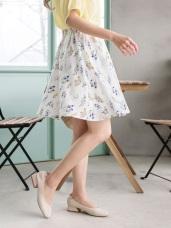 小花朵滿版印花雪紡鬆緊圓裙