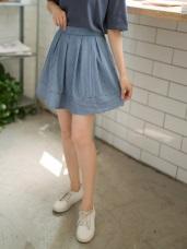 後拉鍊馬卡龍色系直條紋百褶短裙