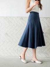 高含棉碧青色調車線工藝中長裙