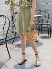 圓形拉鍊開衩設計腰圍綁帶中長裙