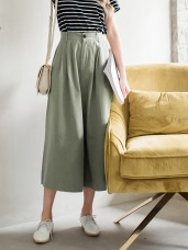 高含棉打褶傘襬素面長裙