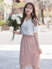 婚禮系列~鬆緊腰頭造型蕾絲雕花拼接中長紗裙
