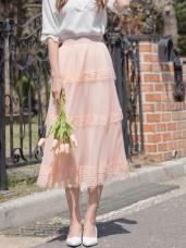 婚禮系列~浪漫蕾絲拼接純色層次感中長紗裙