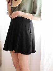 緻黑飄逸彈性百褶短裙