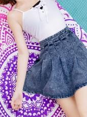 高含棉雪花打褶牛仔丹寧傘襬短裙