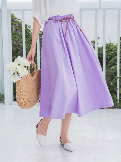 附腰帶荷葉鬆緊腰頭高含棉中長圓裙