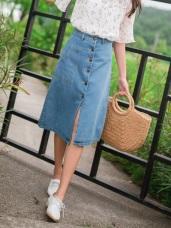 高含棉排釦側口袋牛仔丹寧A字中長裙