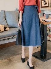 高含棉牛仔丹寧抽鬚設計A字中長裙