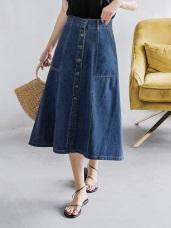 排釦設計高含棉牛仔A字中長裙