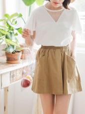 高含棉寬口帶設計打褶開衩短裙