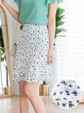 清新滿版印花雪紡魚尾短裙