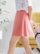 豎羅紋純色短圓裙