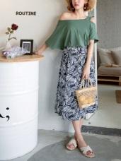 樹葉滿版印花口袋設計中長圓裙