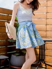 高含棉附綁帶滿版配色葉片印花褲裙