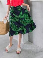 渡假感滿版樹葉印花下襬荷葉拼接中長裙
