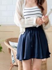 甜心少女腰圍綁帶飄逸短褲裙