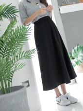 悠閒日常高含棉腰圍鬆緊車線長裙