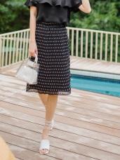 典雅女孩黑白點點壓紋雪紡裙
