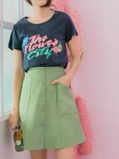 排釦設計高含棉純色A字短裙
