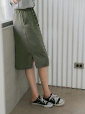 素色腰鬆緊綁帶開衩中長裙