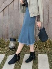 高含棉魚尾下襬抽鬚牛仔裙