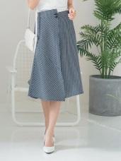 高含棉不規則釦直條紋翻褶中長裙
