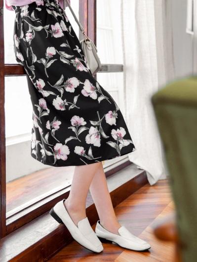 鬆緊腰頭氣質花朵印花中長圓裙
