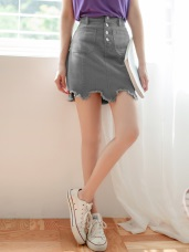 高含棉不規則剪裁排釦短裙