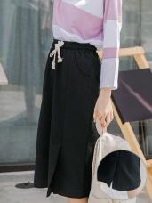 開衩設計鬆緊綁帶厚棉中長包裙