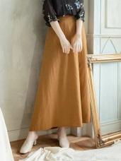 半襟反褶鬆緊腰圍素面長裙