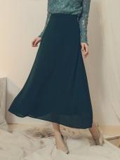 純色壓褶飄逸大圓裙