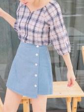 排釦設計高含棉A字短裙