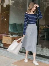 純色雙口袋造型彈性長裙