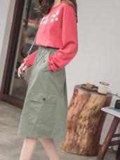 口袋設計高含棉純色A字中長裙
