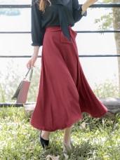 蝴蝶結鬆緊腰頭純色長裙