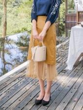網紗拼接高棉純色魚尾裙