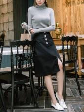 浪漫約會系列~質感排釦高棉A字中長裙